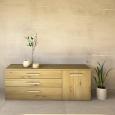 LINO Sideboard 180 cm mit 3 Schubladen Massivholz Wildeiche weiß geölt