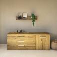 LINO Sideboard 180 cm mit 3 Schubladen Massivholz Wildeiche