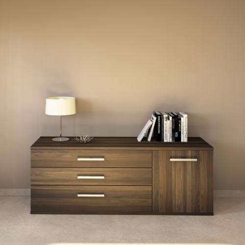 LINO Sideboard 180 cm mit 3 Schubladen Massivholz Nussbaum