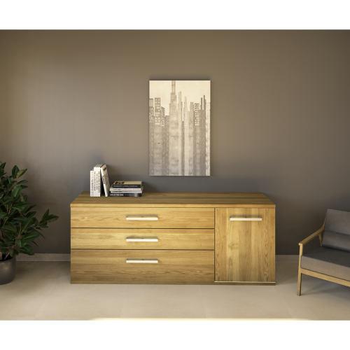 LINO Sideboard 170 cm mit 3 Schubladen Massivholz Eiche