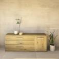 LINO Sideboard 170 cm mit 3 Schubladen Massivholz Wildeiche weiß geölt
