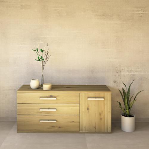 LINO Sideboard 150 cm mit 3 Schubladen Massivholz Wildeiche weiß geölt