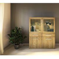 Exklusiver Holz Esszimmerschrank mit Glastüren - Flachsockel Eiche