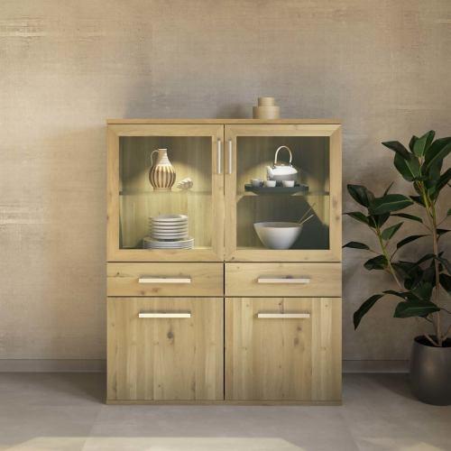 Exklusiver Holz Esszimmerschrank mit Glastüren - Flachsockel Wildeiche weiß geölt