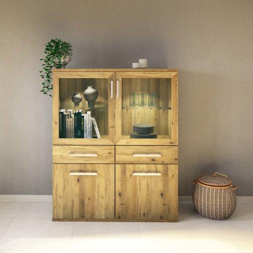 Exklusiver Holz Esszimmerschrank mit Glastüren - Flachsockel Wildeiche