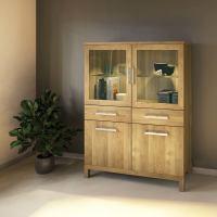 Exklusiver Holz Esszimmerschrank mit Glastüren Eiche