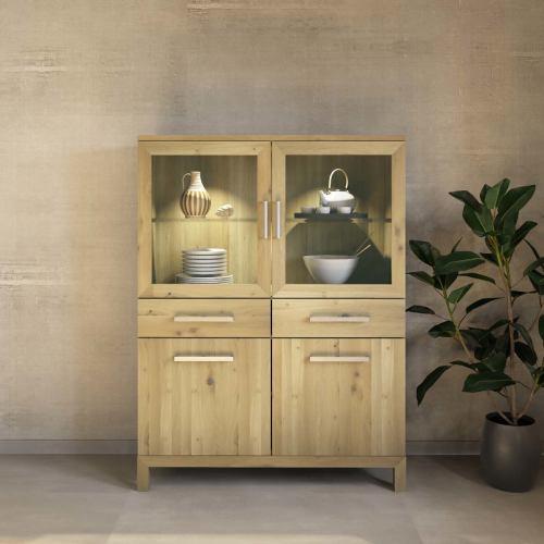 Exklusiver Holz Esszimmerschrank mit Glastüren Wildeiche weiß geölt