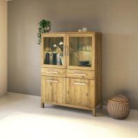 Exklusiver Holz Esszimmerschrank mit Glastüren Wildeiche