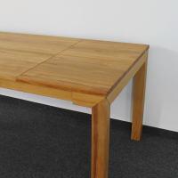 Esstisch LINO Massivholz mit Gestellauszug - 90cm Breite Wildeiche weiß geölt 120 x 90 cm 50 x 90 cm