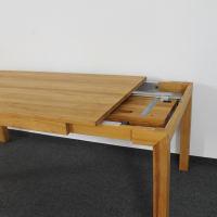Esstisch LINO Massivholz mit Gestellauszug - 90cm Breite Wildeiche weiß geölt 120 x 90 cm 100 x 90 cm