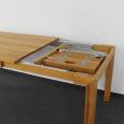 Esstisch LINO Massivholz mit Gestellauszug - 90cm Breite Wildeiche weiß geölt 140 x 90 cm 50 x 90 cm