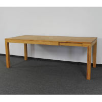 Esstisch LINO Massivholz mit Gestellauszug - 90cm Breite Wildeiche weiß geölt 160 x 90 cm 50 x 90 cm