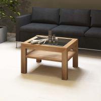 Quadratischer Massivholz Couchtisch mit Glasplatte - 70x70cm