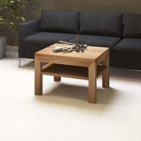 Quadratischer Massivholz Couchtisch mit Ablage - 70x70cm