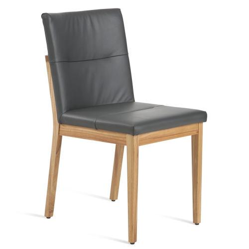 Stuhl mit Polstersitz und Polsterrücken Eiche hell geölt Leder