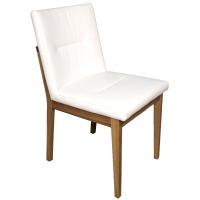 Stuhl mit Polstersitz und Polsterrücken Eiche weiß geölt Stoff