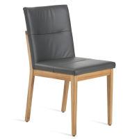 Stuhl mit Polstersitz und Polsterrücken Eiche weiß geölt Leder