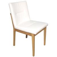 Stuhl mit Polstersitz und Polsterrücken Buche hell geölt Leder
