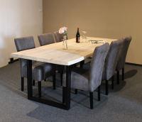Baumkante Esstisch 240x100 White Wash mit 6 Stühlen
