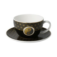 Lotus Tee-/ Cappuccinotasse Yin Yang Schwarz