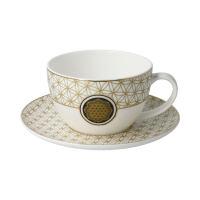 Lotus Tee-/ Cappuccinotasse Blume des Lebens Weiß