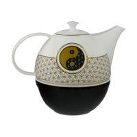 Lotus Teekanne mit Stövchen Blume des Lebens
