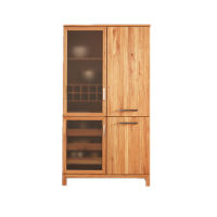 Massivholz Hochschrank für Küche mit Glastür
