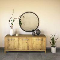 Wohnzimmer Kommode 180 cm Massivholz Wildeiche