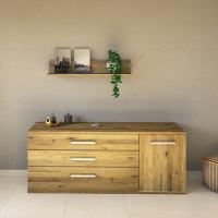 LINO Sideboard 170 cm mit 3 Schubladen Massivholz Wildeiche