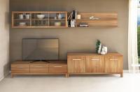 Massivholz TV-Wohnwand mit Hängeschrank