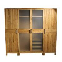 Massivholz Kleiderschrank mit Glastüren, 4-türig
