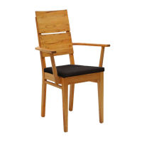 Gepolsterter Armlehnen Stuhl LINO Massiv Holz Nussbaum geölt Polstersitz Leder